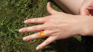 The ring Chris Proposed with - yes it is haribo!