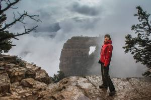 A view of Angel's point on the North Rim - it was pretty cloudy. There was a whole canyon hiding behind this!