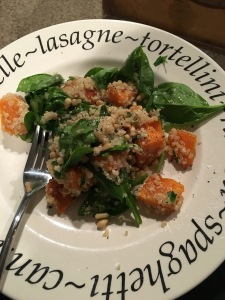 Quinoa, squash and pine nut warm salad.  Actually pretty darn tasty and easy to make.