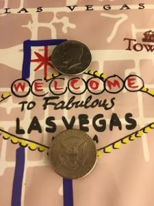 Our total sum winnings in Vegas...2 half dollar coins